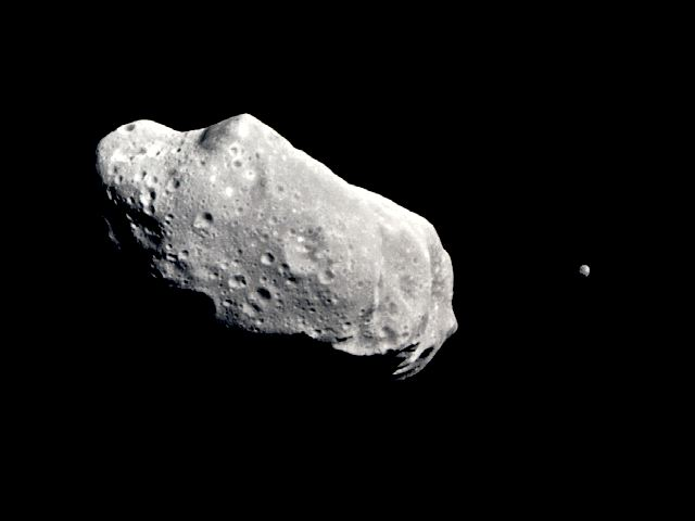 NASA picture of asteroid Ida and its moon Dactyl