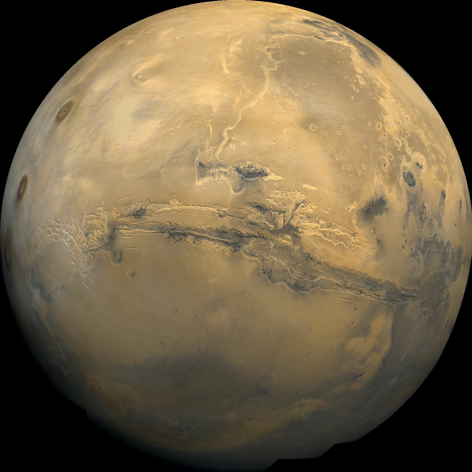 Global mosaic of Mars. Visible in the center of this mosaic isthe ...