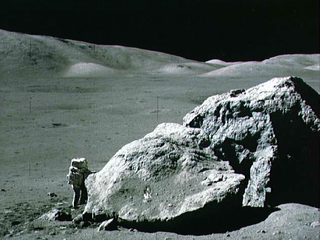 Astronaut Harrison Schmidt exploring the Moon. Courtesy NASA (click to embiggen).