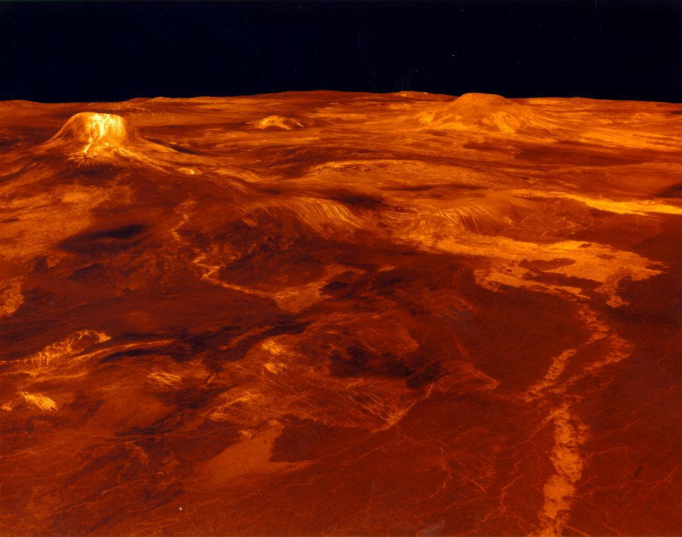 Computer generated surface view of Eistla Regio  from the northeast  Venus Planet Surface