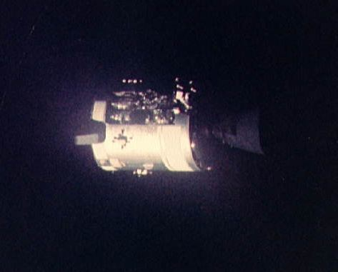 Apollo 13 photo taken by the astronauts after the Service Module had been jettisoned shortly before re-entry on 17 April 1970<br />Credit: NASA apollo_13_sm.jpg