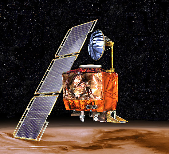Mars Climate Orbiter in orbit over Mars, NASA illustration mars98orb.jpg