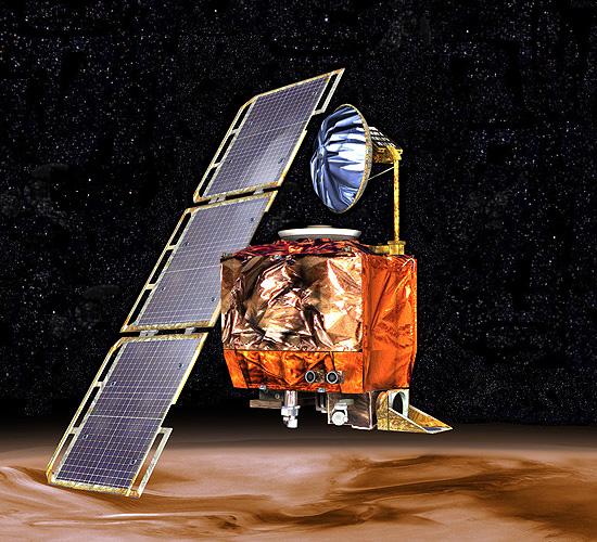 Artist's concept of Mars Climate Orbiter in orbit above Mars, NASA illustration mars98orb.jpg