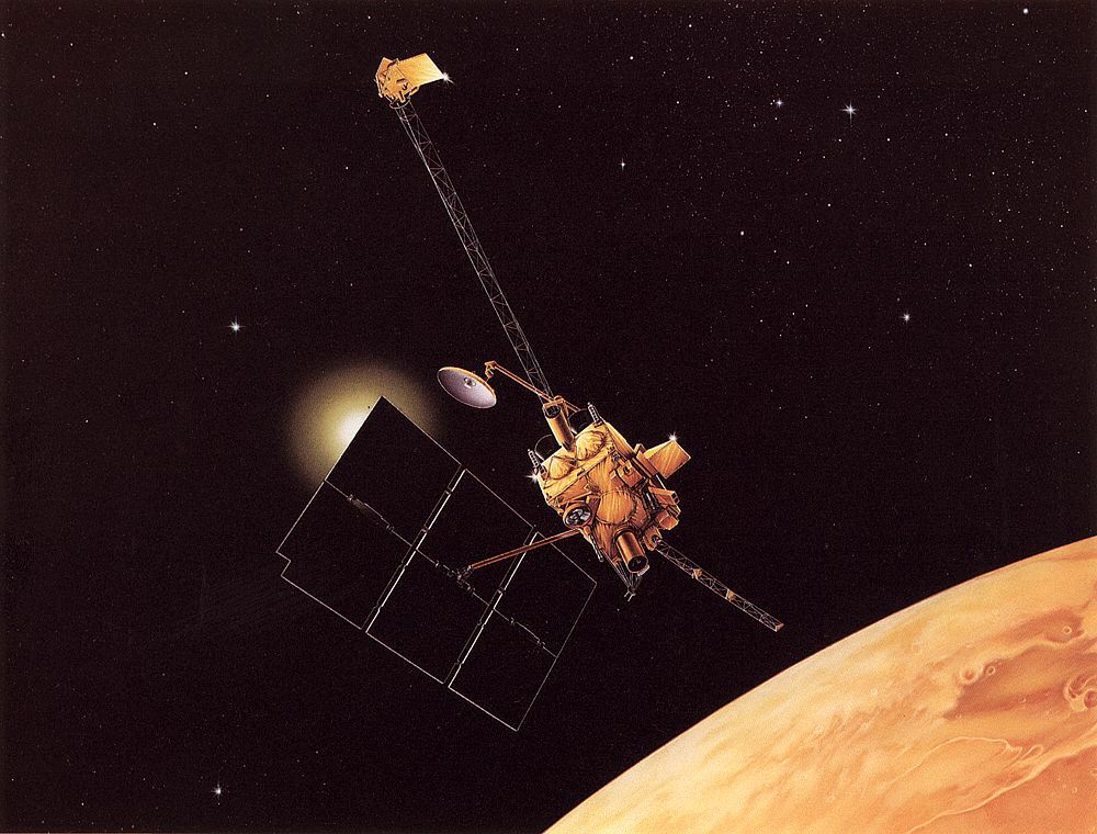 Mars Observer in orbit above Mars, NASA illustration mars_observer.jpg