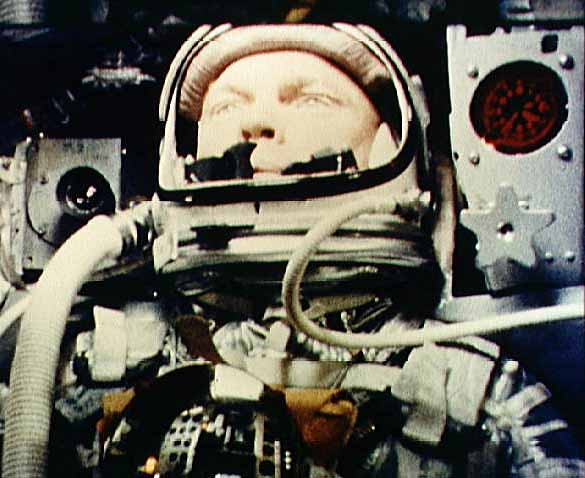John Glenn in the USA's first manned orbital flight, MA-6, Friendship 7NASA photo mercury_glenn.jpg