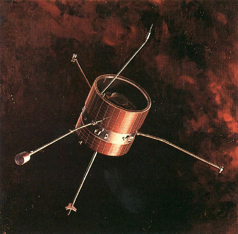 Artist's concept of Pioneer 9 in space, NASA illustration pioneer6-9.jpg