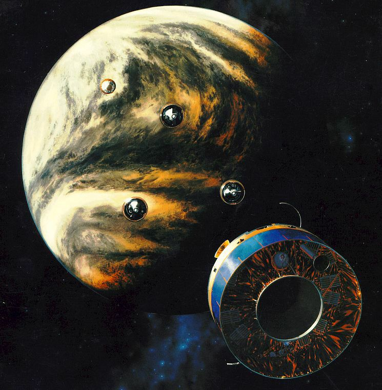Pioneer Venus 2 releasing its probes for descent into the Venusian atmosphere, NASA illustration pv_bus_probes.jpg