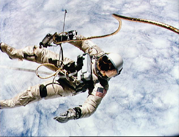 Ed White performing America's first spacewalk, during the Gemini 4 mission, NASA photo gemini_4.jpg