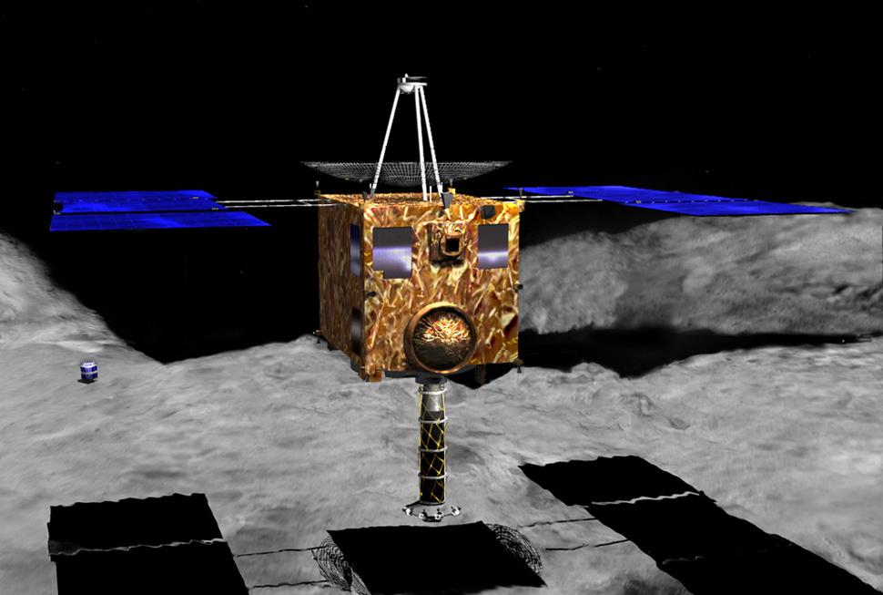 Artist's concept of Japan's Hayabusa probe at asteroid 25143 Itokawa Source: NSSDCA Master Catalog hayabusa.jpg