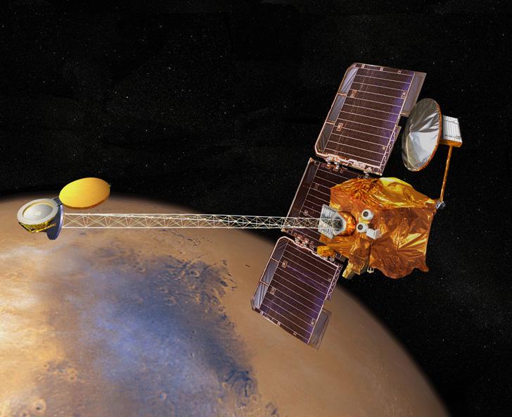 Artist's concept of 2001 Mars Odyssey in orbit over Mars, NASA illustration Source: NSSDCA Master Catalog mars_2001_odyssey.jpg