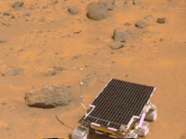 Simulated image of Pathfinder and Sojourner rover
