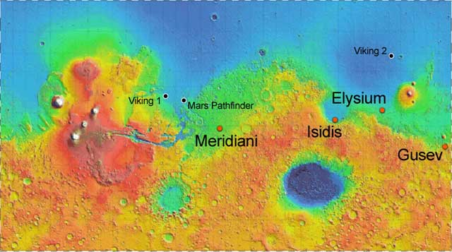 NASA illustration, Mars Exploration Rover (Spirit and Opportunity) landing sites mer_landing_sites.jpg