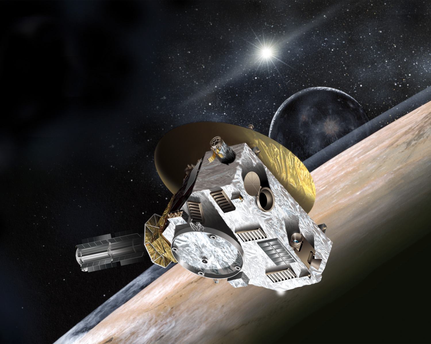 Artist's impression of the New Horizons Pluto Kuiper Belt Flyby, NASA JPL illustration new_horizons.jpg