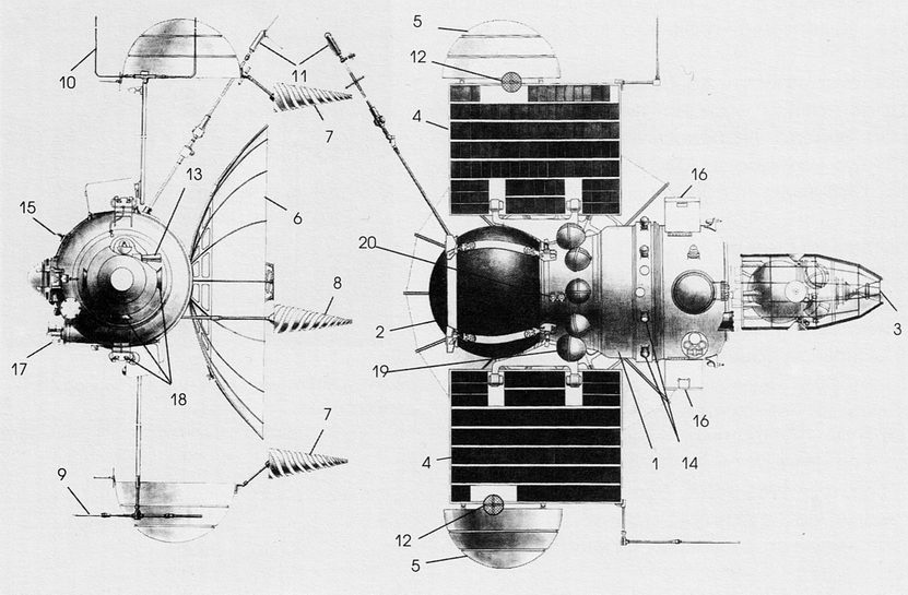 USSR Sputnik 19, 1962 Venera-type satellite, illustration courtesy of NASA venera_1962_diag.jpg