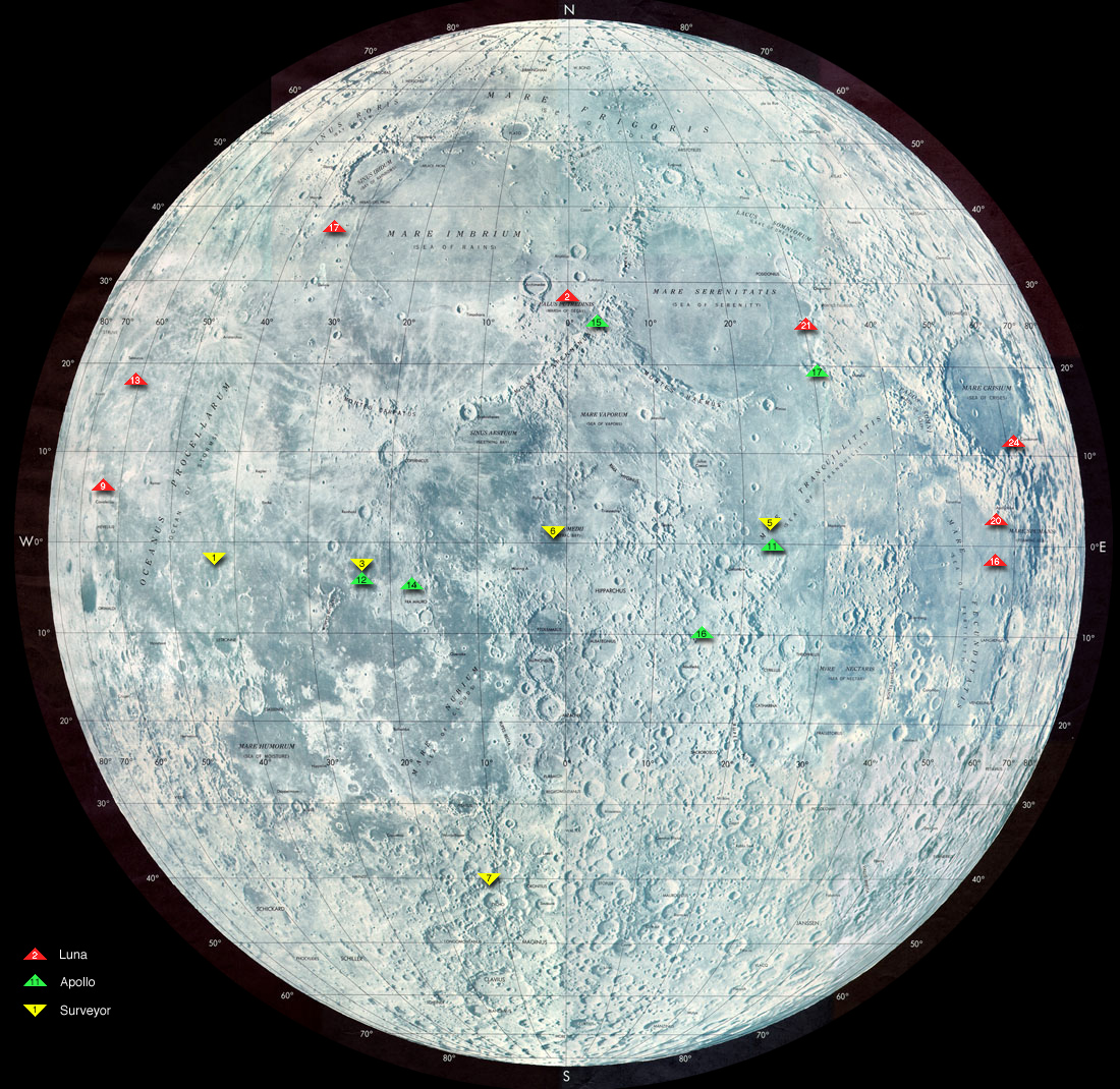Map of lunar landings